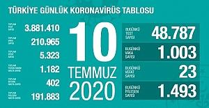 Türkiye'de iyileşenlerin sayısı 191 bin 883'e ulaştı
