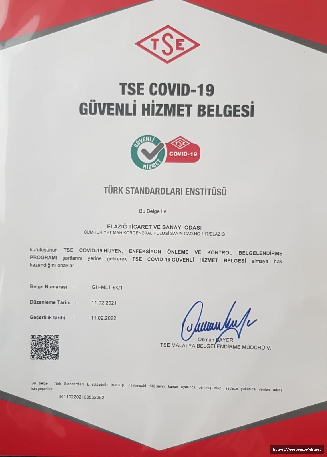 """Elazığ TSO """"TSE COVID-19 Güvenli Hizmet Belgesi"""" Aldı"""