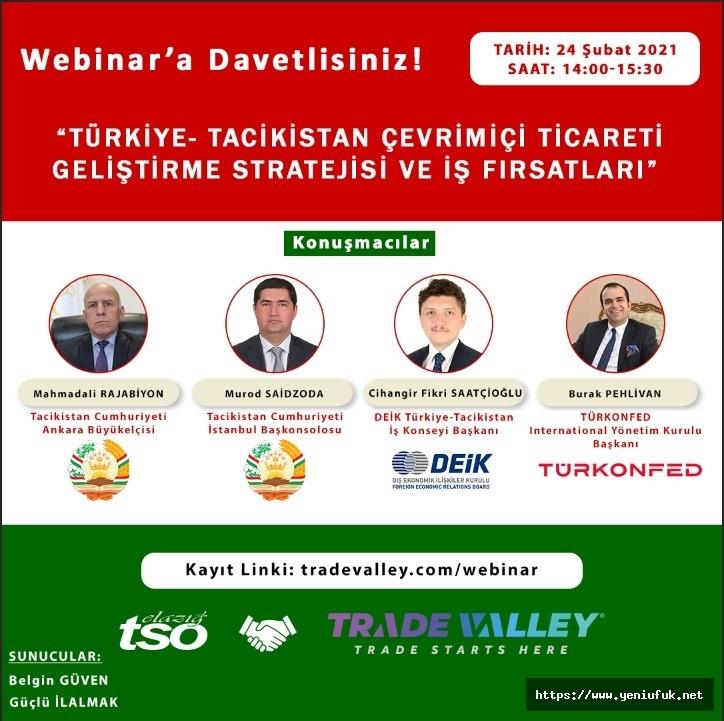 Türkiye-Tacikistan Çevrimiçi Ticareti Geliştirme Stratejisi ve İş Fırsatları Semineri