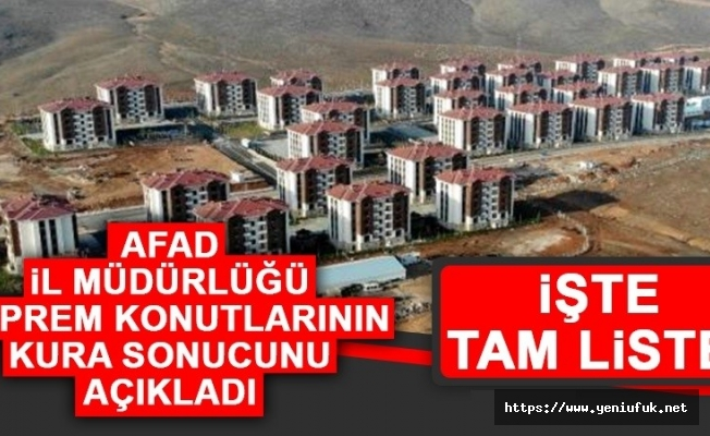AFAD İl Müdürlüğü Deprem Konutlarının Listesini Açıkladı