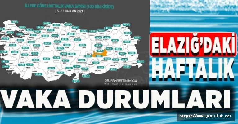 Elazığ'daki Haftalık Vaka Sayısı