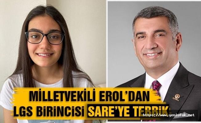 EROL'DAN TÜRKİYE BİRİNCİSİ ÖĞRENCİ'YE TEBRİK TELEFONU